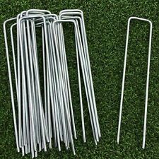 More details for 100 x metal ground garden landscape weed membrane fabric turf hooks pegs