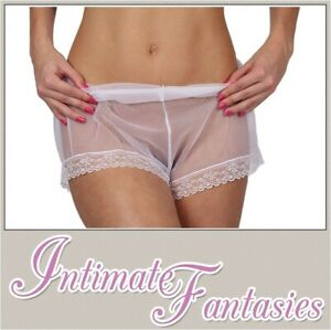 Sexy Sheer White French Knickers See Through Mesh Size 8 10 12 14 16 M L Sissy