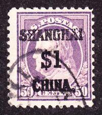 US K15 $1 (50c) Shanghai Overprint Used F-VF SCV $1000