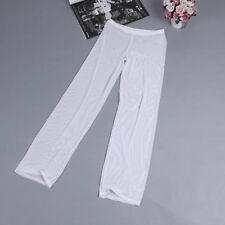 Men's Sexy Mesh Sheer Long Pants Thermal Lingerie Gauze See-through Underwear