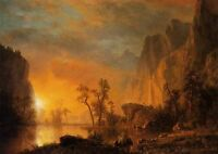 Hand painted Oil painting Albert Bierstadt - Sunset in the Rockies landscape 36""