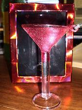 Pink GLITTER Martini*Long Stem Cocktail GLASS*Hanging ORNAMENT*NIB  ~FREE SHIP~