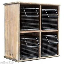 Natural Wood Organizer with 4-Black Wire Baskets RUSTIC VINTAGE WALL DECOR