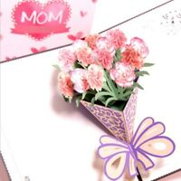 Carnation Mom I Love You 3D Pop Up Greeting Cards Christmas Mother's Day Gift