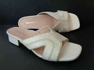 TARYN ROSE Olympia White Patent Leather Slide Sandal Shoes US 8.5M
