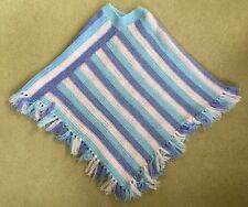 Ladies Women's Handmade Knitted Wool Poncho White And Sky Blue