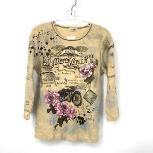 Cactus Cabelas Women Small Shirt 3/4 Sleeve Khaki Brown Motorcylce Pink Floral