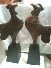 """2 Wood Carved Rooster 17"""" total Rooster 12"""" Base 5"""""""
