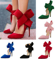 Women's Pointed Toe Suede 11CM Stiletto High Heels Classic Shoes Plus Size Party