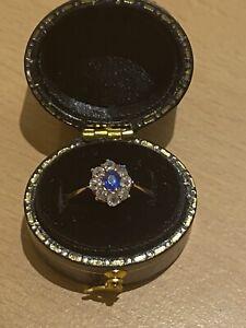 9ct Ceylon Sapphire Diamond Cluster Antique Ring