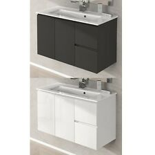 Mobile arredo da bagno 80 100 lavabo ceramica bianco lucido grigio talpa|q