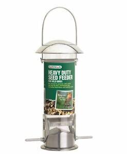 Gardman Heavy Duty Polished Aluminium Seed Feeder EasyFill Metal Feeder