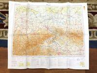 1977 Vintage Militare Mappa Di Praga Cecoslovacchia Raf Freddo War Ufficio Issue