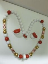 Vintage Gold Red & White Candy Cane Necklace Hidden Clasp Clip on Earrings