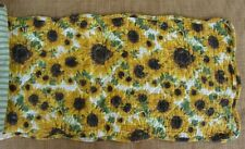 """DREAMY JEANNIE Quilted Table Runner 42"""" - Sunflowers - Gold, Brown, Green"""