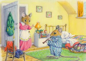 Postkarte: Audrey Tarrant - Mäusekind mit Flöte