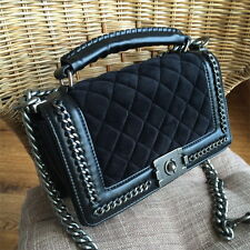 01 womens velvet Leather Quilted chain messenger bag wallet handbag shoulder Bag