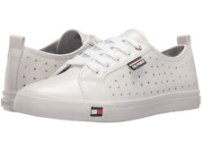 NEW TOMMY HILFIGER Women White Man-made Leather Sneakers Lanibel Gold Stars 10M