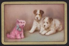 1 Single VINTAGE Swap/Playing Card EN TERRIER DOGS & TOY DOG 'FUN FROLICS FU-3-1