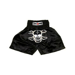 Black Skull Muay Thai Shorts Mma Men Kids Kick Boxing Grappling Satin Pants Wear