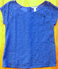 ** BANANA REPUBLIC ** Cobalt Royal Blue Broderie Lace Anglaise Stretch Blouse PS