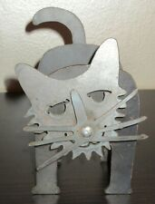 Metal Folk Art Cat Sculpture