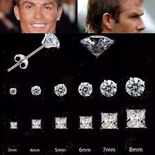 RONALDO BECKHAM FASHION Studs 925 SILVER PLT CZ DIAMOND ROUND & SQUARE Choose 1