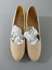 Bees By Beacon Vintage Wedges Low Heel Canvas Tan Sz 7.5 Narrow H1