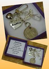 AUNTIE Lucky Sixpence Coin Charm Keepsake Gift Angel Birthday Christmas Box Poem