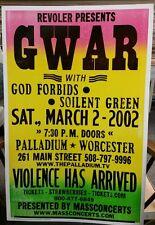 GWAR,GOD FORBIDS,SOILENT GREEN Block Print Concert Poster Worcester,MA.