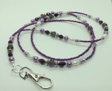 Violet Perles De Verre ID Lanyard Badge Holder Pass Card Holder collier cordon