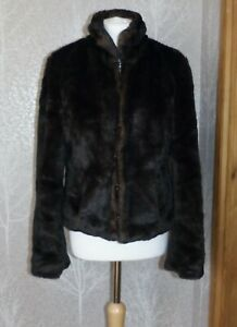 M&S LIMITED COLLECTION BROWN FAUX FUR JACKET UK 16