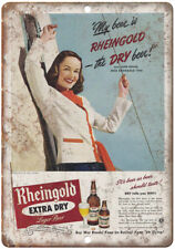 """1944 Rheingold Extra Dry Jane House Ad 10"""" x 7"""" Reproduction Metal Sign E232"""