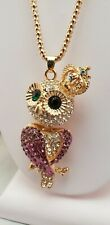 Beautiful Purple Crown Owl Crystal Rhinestone Moving Pendant Long Necklace