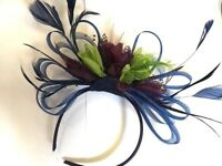 BESPOKE Navy Blue Lime Green Purple Fascinator Headband UK Wedding Ascot Races