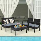 4pcs Outdoor Patio Rattan Furniture Set Cushioned Sofa Coffee Table Garden Deck