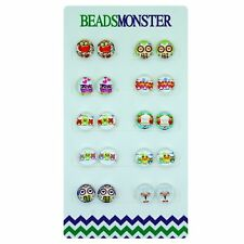 Owl Magnetic Clip-on Stud Earrings for Little Girls Kids Teenage Girls Women