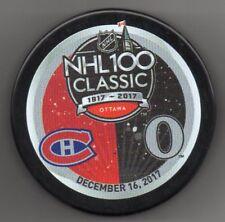 NHL 100 Classic Ottawa Senators Montreal Canadiens 2017 Hockey Puck FREE Cube
