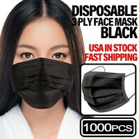 *1000 PCS* 3-PLY Disposable Face Mask [BLACK] Non Medical Earloop Mouth Cover