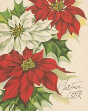 Beautiful Vintage Christmas Card Whitman Pretty Poinsettias design - unused