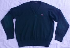 Men's Paul & Shark Italy Wool Yachting Green V-Neck Elbow Patch Sweater Sz XXL