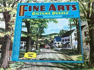 "Vintage FINE ARTS PICTURE Puzzle ""PEACEFUL VILLAGE"" 20 INCHES 500+ Complete!"