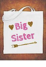 Big Sister Birthday Present Gift baby  kids Tote Bag children's  Cotton  - White