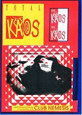 TOTAL KAOS Rave Flyer Flyers A5 18/10/91 Echoes Night Spot Leicester