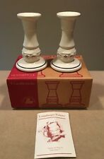 "Longaberger Pottery 5"" Candlesticks ""Traditions Blue"" Original Box Excellent!"