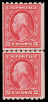 US 1912 2c CARMINE PERF. 8.5 HORIZONTALLY IN VERTICAL LINE PAIR MNH #411