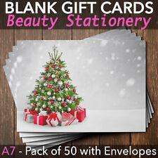 Christmas Gift Vouchers Blank Beauty Salon Card Nail Massage x50 A7+Envelope SI