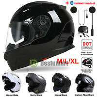 DOT Black Motorcycle Full Face Helmet Dual Visor Flip up Modular + Headset 2021