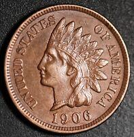 1906 INDIAN HEAD CENT -With LIBERTY & Near 4 DIAMONDS - AU UNC