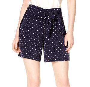 Bar III | Midnight Dots Polka Dot Tie Waist Shorts | Blue